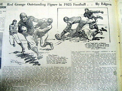 1925 newspaper RED GRANGE Plays his final FOOTBALL GAME 4 UNIVERSITY OF ILLINOIS