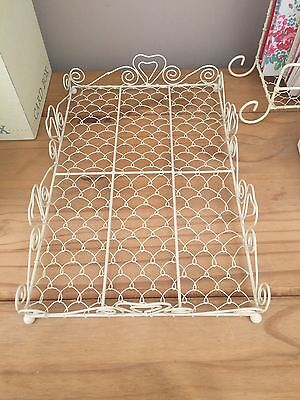 Cream Metal Heart Letter Tray Office Study Kitchen Hallway Bedroom Shabby Chic