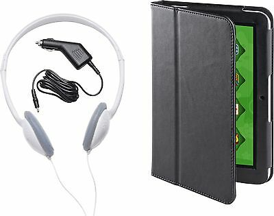 """7"""" TABLET ACCESSORY PACK - Faux Leather Case, Headphones & Car Charger"""