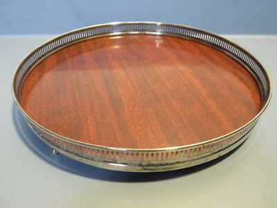 "Vintage Fisher Sterling & Wood Lacquer Bar Tray 10"" Diameter 2218"