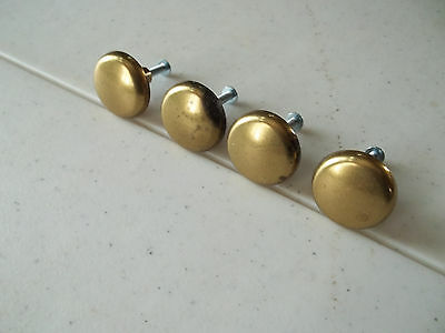 "4 Vintage 1960's - 70's Solid Brass 1 1/4"" Diameter Drawer Pulls, Free S/H"