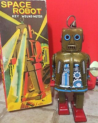 Sparky Robot Space Toy Mechanical Windup Tin Toy Gold
