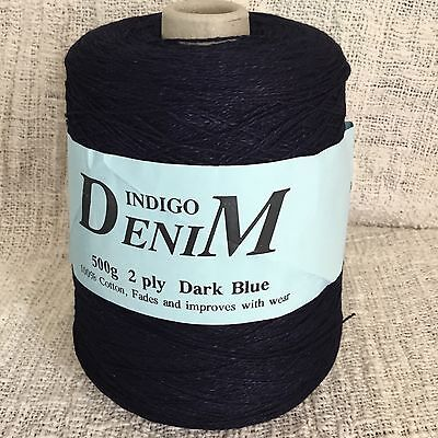 Indigo Denim 2ply Cotton Cone Machine or Hand Knitting 545 gms