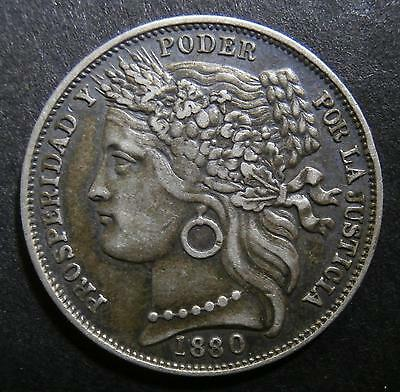 Antique Peru - 1 Peseta 1880 with dot after B Coin Vintage