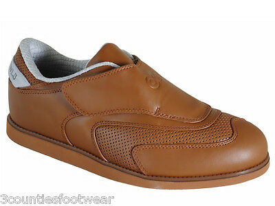 Leather Lawn Bowls Shoes Tan - Velcro - Clearance