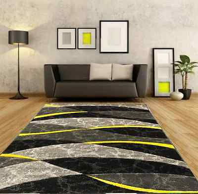 Yellow and Silver Modern Rugs Hallway Runner Rug Soft Thick Carved Carpets Mats