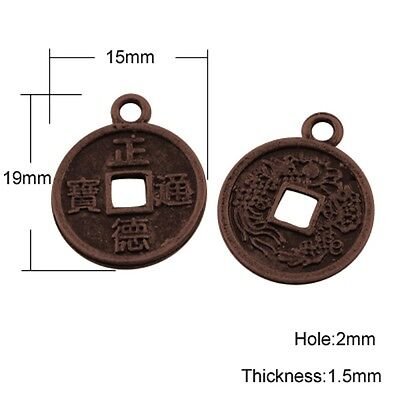 50 x Antique Copper Plated  Alloy Metal Chinese Fortune Coins 15mm Dia (A24558)