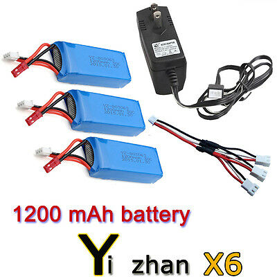 3pcs 7.4V 1200mAh Battery+Charger+3in1Cable For JJRC H16 YiZhan X6 RC Quadcopter