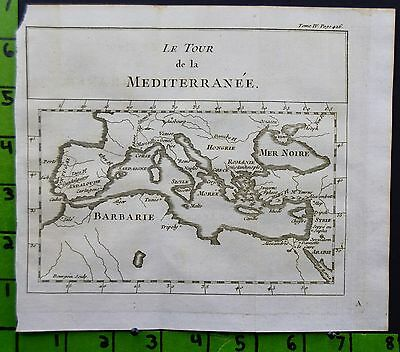 Antique Map Engraving of the Mediterranean Printed 1746