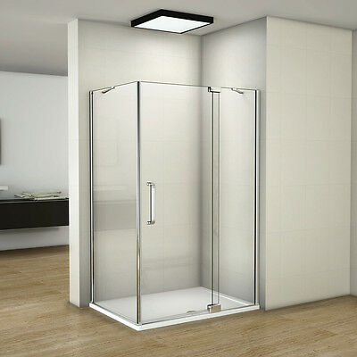 Aica Frameless Pivot Walk in Shower Door Enclosure Tray 8mm Glass Screen Cubicle