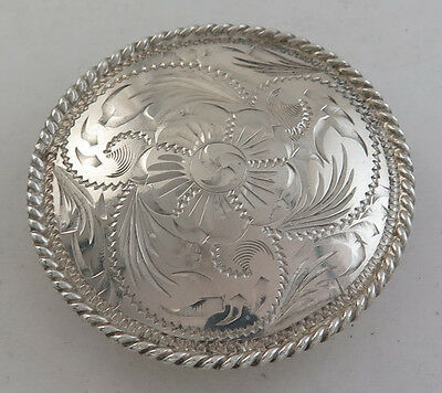 Vintage Round Sterling Silver Concho Belt Buckle with Floral Engraving