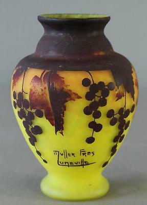 Muller Freres, Luneville.  French cameo art glass vase.  3 colors.
