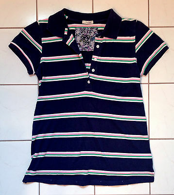 Womens Old Navy Maternity Blue Striped Polo Short Sleeve Shirt XS extra small