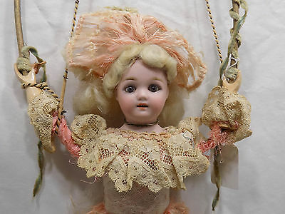 """10"""" Antique German Bisque Tumbling Mechanical Doll Original Zinner Sohne French"""