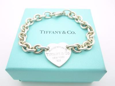 """Please Return To Tiffany & Co. Silver Center Heart Tag Bracelet 7.5"""" With Box"""