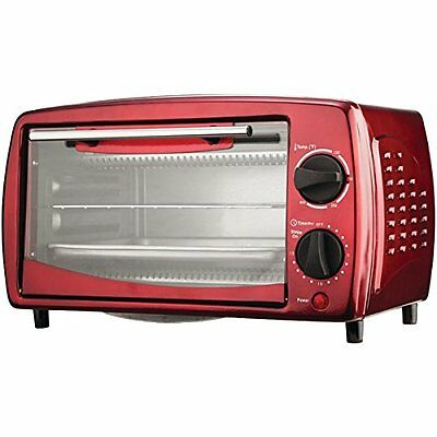 Brentwood TS-345R 4 Slice Toaster Oven, 14.5 x 9.5 x 8.5-Inch, Red Tone