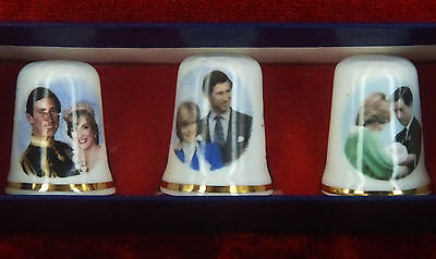 Thimble Set Commemorating The Prince Of Wales And Lady Diane Spencer -  Sewing
