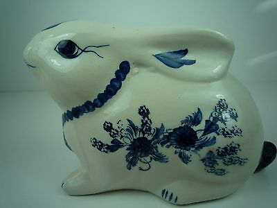 Adorable Handmade & Hand Painted Blue And White Floral Pattern Bunny/rabbit Bank