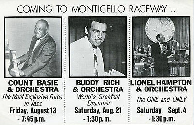1971 Coming To Monticello Raceway Flyer Count Basie Buddy Rich Lionel Hampton