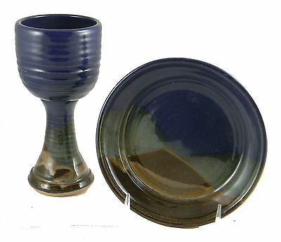 Chalice Paten Altar Set Pottery Handcrafted Blue
