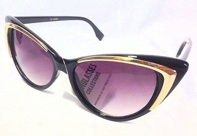 Cat Eye Sunglasses,Frame with Gold Accent, Gradient Lens (#010)