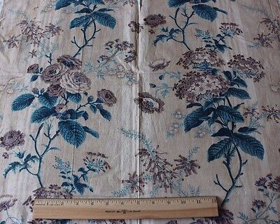 Antique French Botanical Floral HandBlocked Chintz Textile Fabric c1840-1850