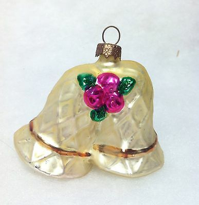 Bell embossed w/ Pink Roses Christmas tree ornament