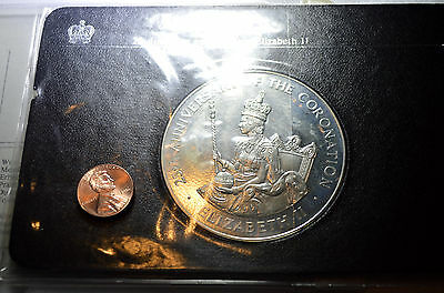 JAMAICA -1978 LARGE SILVER PROOF $25 COIN - 136gms 61mm - Coronation Anniversary