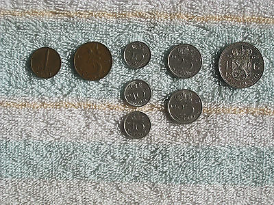 Lot of 8 Netherlands Coins -- 1950 to 1974