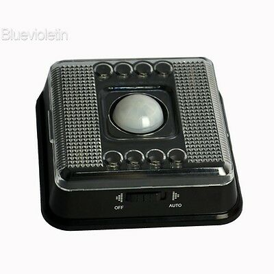 Wireless Infrared 8LED Light Blub PIR Auto Sensor Motion Battery Black Case BLLT