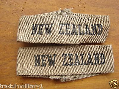 WWII New Zealand Tropical Shoulder Titles Pair