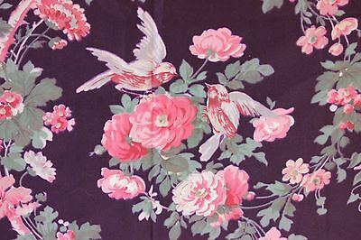Antique French Edwardian c1906 Roses & Birds Satin Textile Fabric Sample