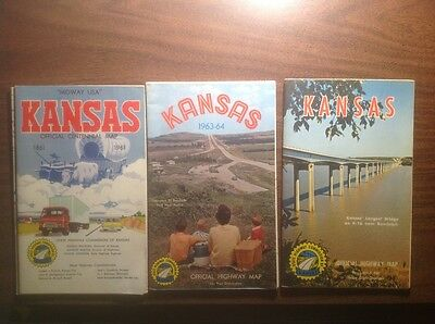 Vintage 1960's Kansas Official State highway maps- lot of 3