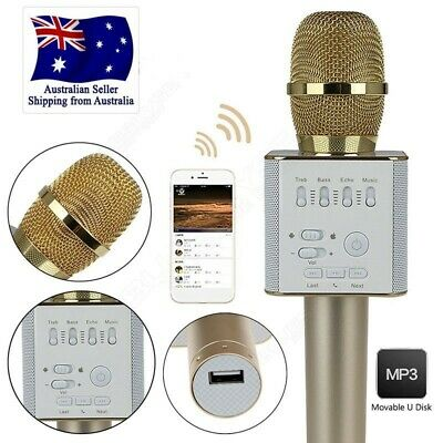 Gold Q9 Wireless Bluetooth Karaoke Microphone Speaker Handheld KTV USB Player