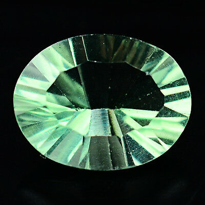 1.89 CT AAA NATURAL! GREEN CHINA FLUORITE  7.1 X 9.1 mm OVAL CONCAVE CUT