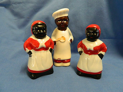 3x Vintage Salt and Peppers Porcelain Statues Collectables