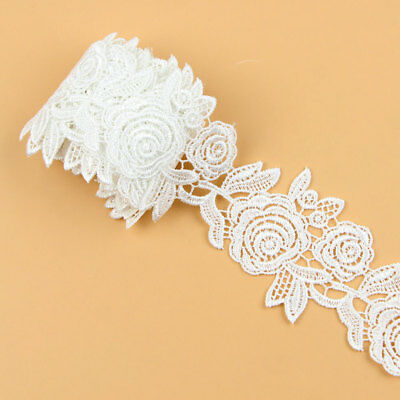 3 Yards Rose Flower Embroidered Lace Edge Trim Ribbon Applique Sewing Craft DIY