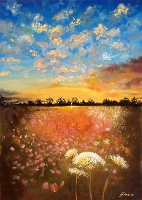 Limited Edition Dandelion Meadow A3 Print Of Original Oil Painting Landscape Sky