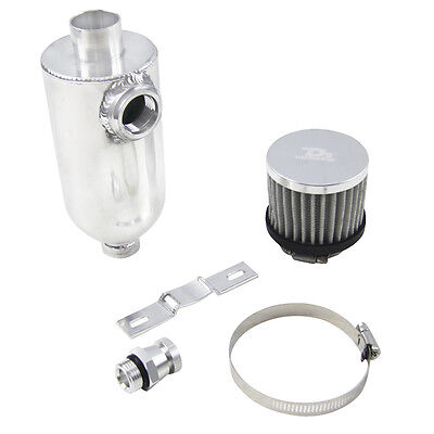 Oil Catch Can Tank + Breather Bracket Drain Tap -12 ORB TOP 550ml Alloy NEW HOT