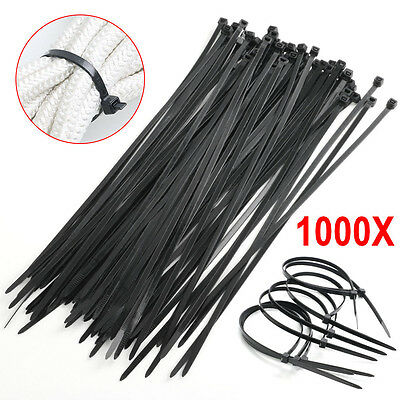 1000 PCS 4.8MM x 300MM Black Assorted Nylon Cable Ties Wraps Cable Self-Locking