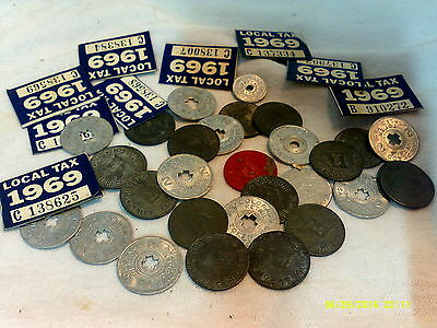 Lot Of 39 Old Tax Tokens