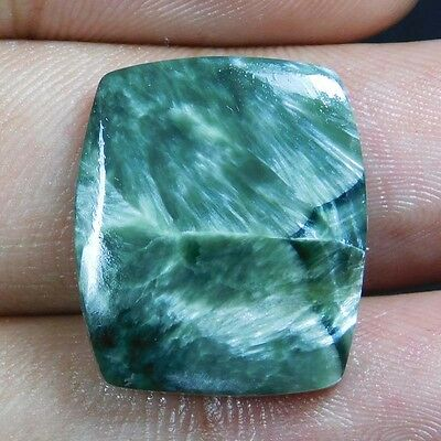 13.55Cts 100% NATURALA+ QUALITY Green SERPHINITE CUSHION 21X18 CABOCHON GEMSTONE