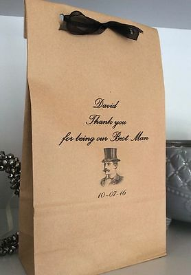 Personalised Kraft Gift Bag Thank you for being our Best Man Wedding Handmade