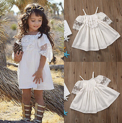 UK Flower Kids Baby Girls Princess Pageant Party Wedding Lace Tutu Dress Clothes