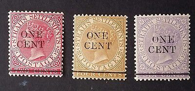 1891 Straits Settlements lot of 3 QV stamps with ONE CENT surcharge Mint