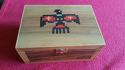Decorative Hand Made Wooden Box With Inlaid Eagle Design