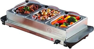 BRENTWOOD TRIPLE BUFFET SERVER w/ WARMING TRAY KEEP FOOD HOT STAINLESS STEEL NEW