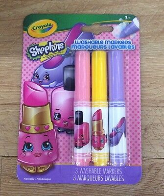 1 Pack of 3 Shopkins Washable Markers Lippy Lips NEW Crayola