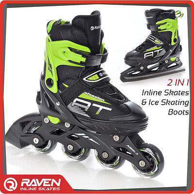 Green 2in1 Roller Blades Inline Skates Adjustable Ice Skating Shoes UK Stock