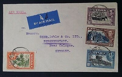1949 Ceylon Airmail Cover ties 4 multifranked KGVI stamps to Germany